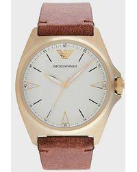 Emporio Armani Reloj con pulsera de piel - Marrón