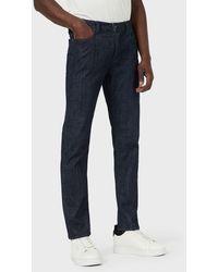 Emporio Armani Jeans J75 slim fit in comfort denim raw - Blu