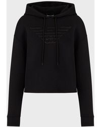 Emporio Armani Hooded Sweatshirt With Oversized Eagle Embroidery, 60% Cotton 40% Polyester, Black, Size: 38