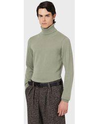 Emporio Armani Jersey de cuello alto de cachemir puro - Verde