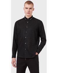Emporio Armani Camisa Con Cuello Tipo Polo De Tejido Jacquard Con Inscripción Integral - Negro
