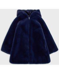 Emporio Armani Zipped Hooded Faux-fur Coat - Blue