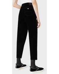 Emporio Armani Pantalones J90 De Corte Relajado En Denim Flocado - Negro