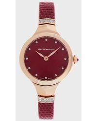 Emporio Armani Uhrenlederarmband - Rot