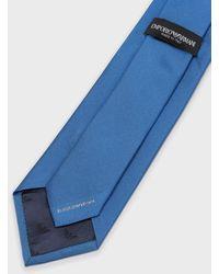 Emporio Armani Cravate En Pure Soie À Rayures - Bleu