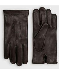 Emporio Armani Handschuhe aus Lammnappaleder mit Schmuckstäbchen - Braun