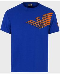 Emporio Armani Camiseta Graphic Series De Punto De Algodón Con Logotipo - Azul