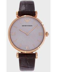 Emporio Armani Reloj de mujer con movimiento de cuarzo, caja oro rosa y correa de piel - Marrón