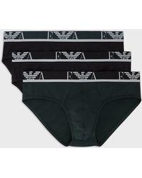 Emporio Armani Paquete De Tres Calzoncillos Slip Con Logotipo De Monograma En La Cintura - Negro