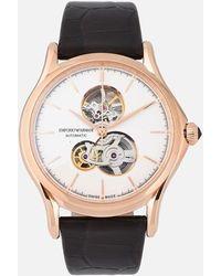 Emporio Armani Reloj Classic para hombre de fabricación suiza con mecanismo automático y péndulo abierto - Marrón