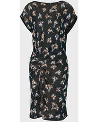 Emporio Armani Knit Dress With Jacquard Ginkgo Floral Motif - Green