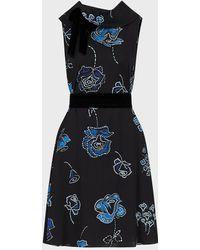 Emporio Armani Floral Print Triple Georgette Fabric Dress With Velvet Details - Black