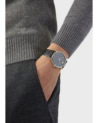 Emporio Armani Reloj con caja de acero y correa de piel con estampado de cocodrilo - Negro