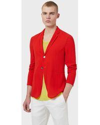 Emporio Armani Chaqueta de abotonadura sencilla de lana superligera gofrada - Rojo