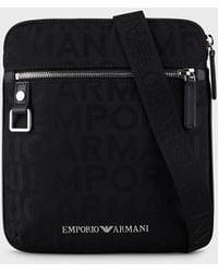 Emporio Armani Flat Nylon Shoulder Bag With Jacquard Lettering - Black