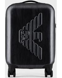 Emporio Armani Maleta de cabina con ruedas en ABS con maxiáguila en relieve - Gris
