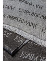 Emporio Armani Écharpe en laine mélangée avec inscription jacquard all over - Gris