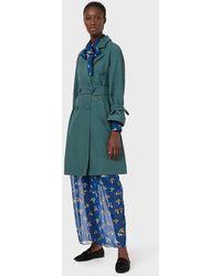 Emporio Armani Trench-coat croisé en nylon mat avec grands boutons - Vert