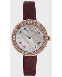 Emporio Armani Reloj con pulsera de piel - Rojo