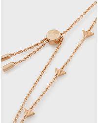 Emporio Armani Bracciale In Argento 925 Color Oro Rosa Con Logo Aquila - Metallizzato