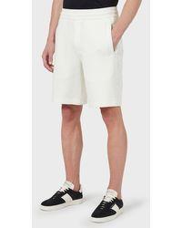 Emporio Armani Bermudas de punto double con cinta de logotipo bordado - Blanco