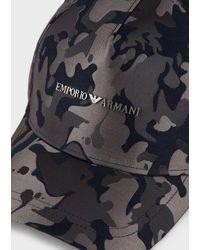 Emporio Armani Casquette De Baseball En Nylon Camouflage - Bleu