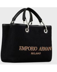 Emporio Armani Kleiner Shopper Myea Bag Aus Filz Mit Gesticktem Logo - Schwarz