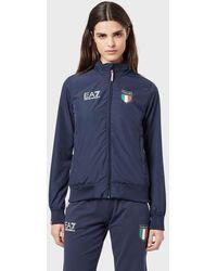 Emporio Armani Blouson à capuche Équipe d'Italie - Bleu