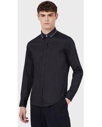 Emporio Armani Camicia in raso di cotone con collo logato jacquard - Blu