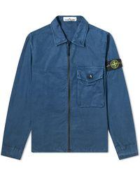 Stone Island Garment Dyed Overshirt - Blue