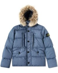 Stone Island Resin Poplin Down Jacket - Blue