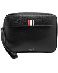 Thom Browne Leather Pouch Bag With Strap - Black