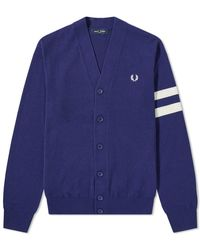 Fred Perry Engineered Stripe Cardigan - Blue