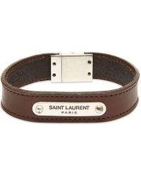 Saint Laurent Leather Id Tag Bracelet - Brown