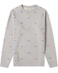 Maison Kitsuné - Maison Kitsuné All-over Tricolour Fox Embroidery Crew Sweat - Lyst