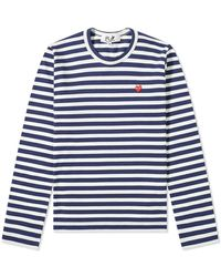 COMME DES GARÇONS PLAY Comme Des Garcons Play Women's Little Red Heart Long Sleeve Striped Tee - Blue