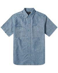 Beams Plus Short Sleeve Mil Work Chambray Shirt - Blue
