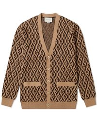 Gucci Logo-jacquard Wool Cardigan - Brown