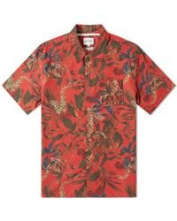 Norse Projects Short Sleeve Carsten Floral Print Vacation Shirt - Red