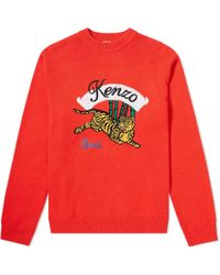 KENZO Jumping Tiger Crew Knit - Red