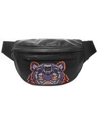 KENZO Leather Tiger Cross Body Bag - Black