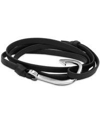 Miansai Silver Hook Leather Bracelet - Black