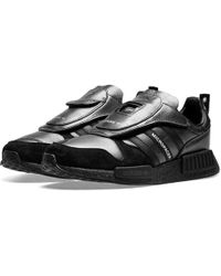 100% authentic 66055 52067 adidas Originals Leather Micropacer Xr1 Sneakers in Black ...