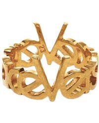 Versace - Gold Vintage Logo Ring - Lyst