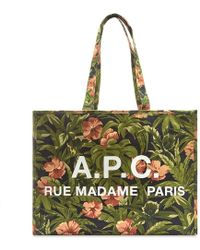 A.P.C. Floral Cabas Mehe Tote Bag - Green