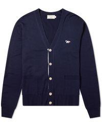 Maison Kitsuné Maison Kitsuné Virgin Wool Classic Cardigan - Blue
