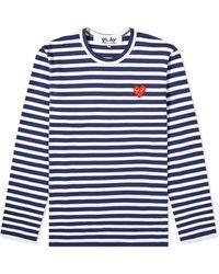 COMME DES GARÇONS PLAY Comme Des Garcons Play Long Sleeve Heart Logo Stripe Tee - Blue