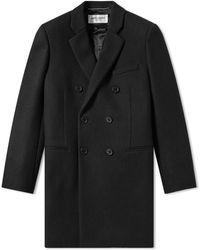 Saint Laurent Double Breasted Wool Coat - Black