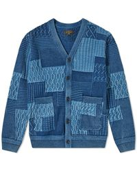 Beams Plus Cable Pattern Cardigan - Blue
