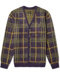 Needles Mohair Plaid Cardigan - Purple